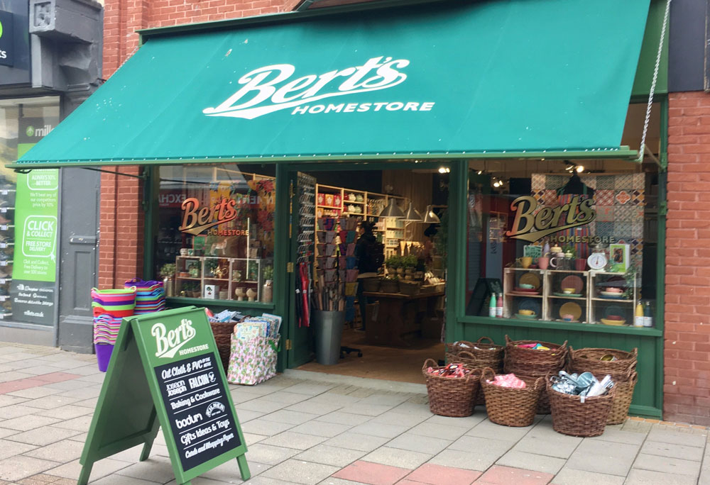 Bert's Homestore Worthing shopfront